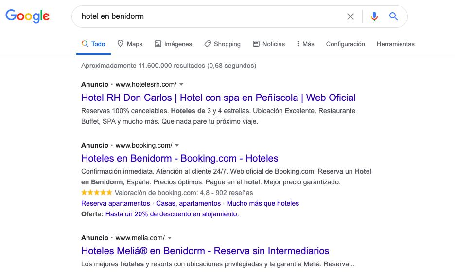 busqueda google hotel benidorm